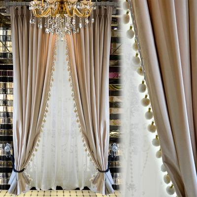 丝绒窗帘客厅卧室阳台欧式中式别墅纱帘布帘丝绒布简约现代地中海