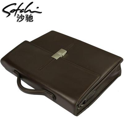 SATCHI沙驰男包【专柜包邮】男士牛皮手提商务包IMA06054-18F