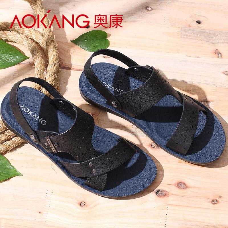 奥康男凉鞋 夏季韩版露趾男士休闲凉皮鞋沙滩鞋子 真皮凉拖鞋潮