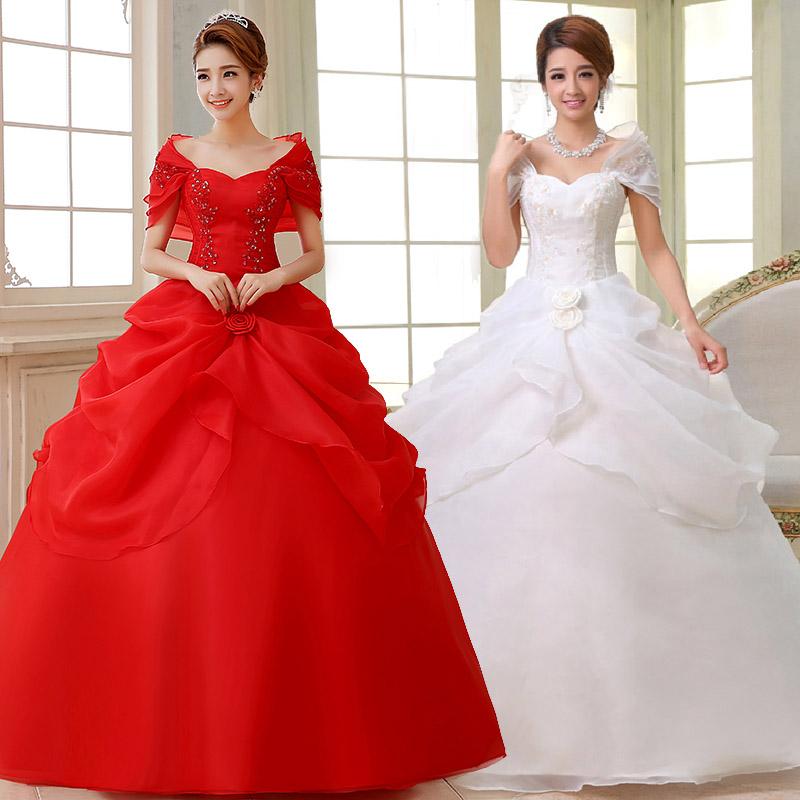 包肩绑带婚纱