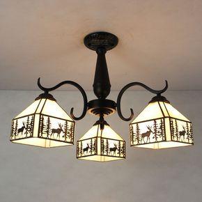 复古铁艺创意欧式多头客厅卧室吸顶灯餐厅铁艺艺术灯饰田园灯饰具