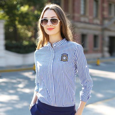华伊格秋装新款衬衣欧美时尚蓝色条纹修身纯棉显瘦立领长袖衬衫女