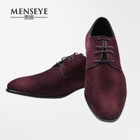 Menseye/男眼 秋冬新款红色真皮皮鞋 羊反绒休闲男士鞋羊皮鞋