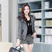 2014秋冬季新款休闲棉衣 外套时尚韩版连帽女装短裤 套装两件套
