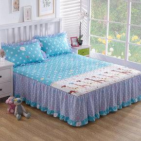 席梦思夹棉床罩床裙床套韩式公主双人床盖床笠1.8m1.51.2米三件套