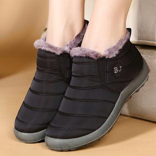 老北京棉鞋女冬季防水平底弹力加绒棉鞋加厚内绒保暖棉鞋