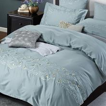 贡缎提花四件套全棉欧式简约60S长绒棉绣花床品纯棉床单床笠1.8米
