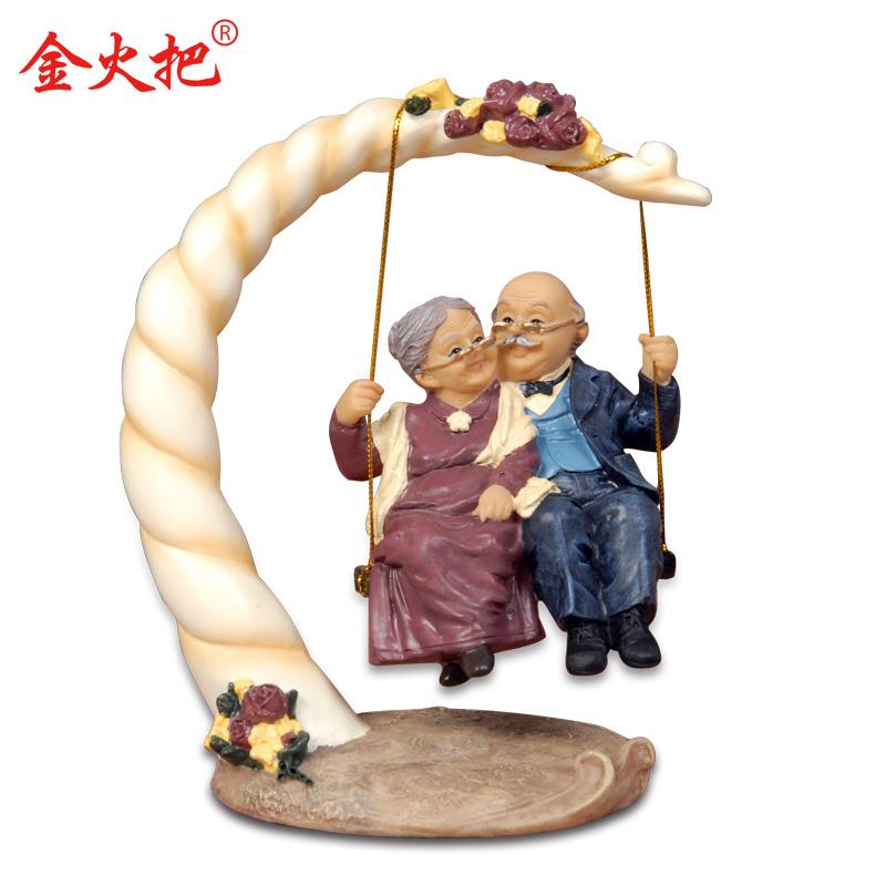 金火把创意摆件金婚银婚送老人父母纪念日礼物母亲节礼物家居饰品