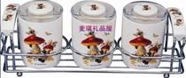 韩国TOPMATE进口厨美餐具骨瓷密封调料罐茶叶储物罐3P蘑菇大号