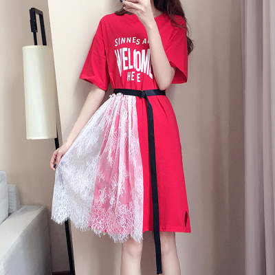 实拍2018韩版大码女装休闲裙子胖mm时尚蕾丝拼接印花短袖连衣裙夏