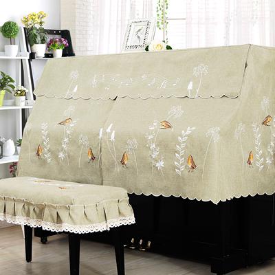 钢琴罩半罩琴凳罩欧式布艺刺绣钢琴盖巾钢琴防尘全罩加厚开帘设计