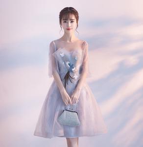 图片:晚礼服2018新款宴会高贵优雅短款韩版小礼服连衣裙女学生伴娘礼服