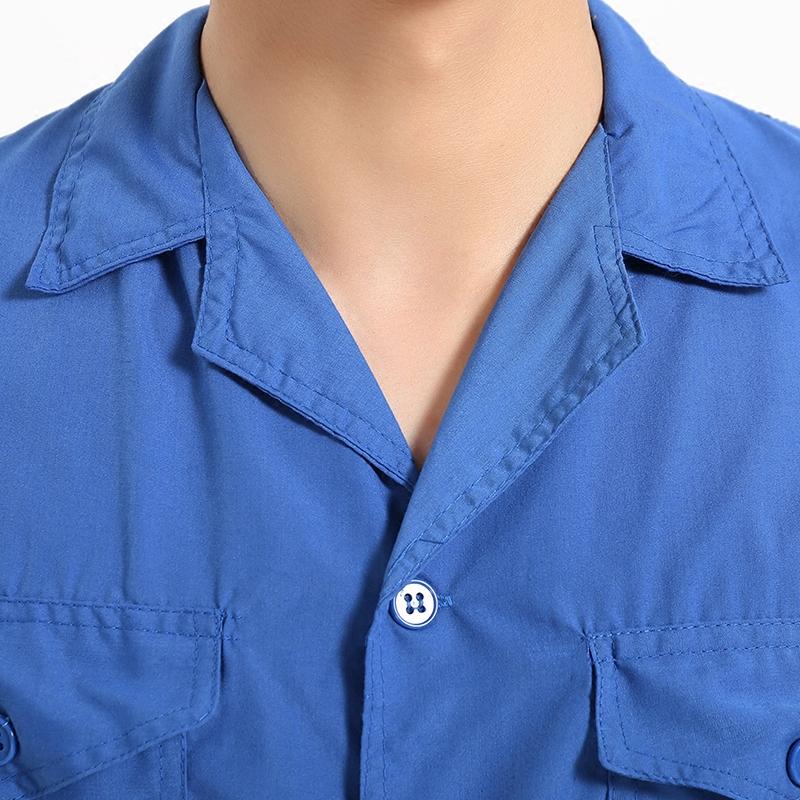 夏季薄款短袖水洗棉上衣透气工装劳保服维汽修服机修服工作服厂服