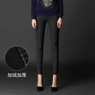 BCCLT黑色格子加厚加绒高腰打底裤女冬外穿显瘦长裤铅笔小脚裤子