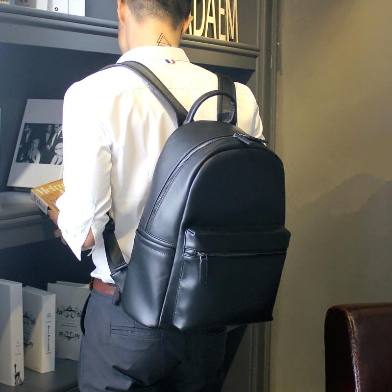 辉先生新款真皮双肩包男士电脑包休闲包韩版牛皮背包潮学生书包女1元优惠券