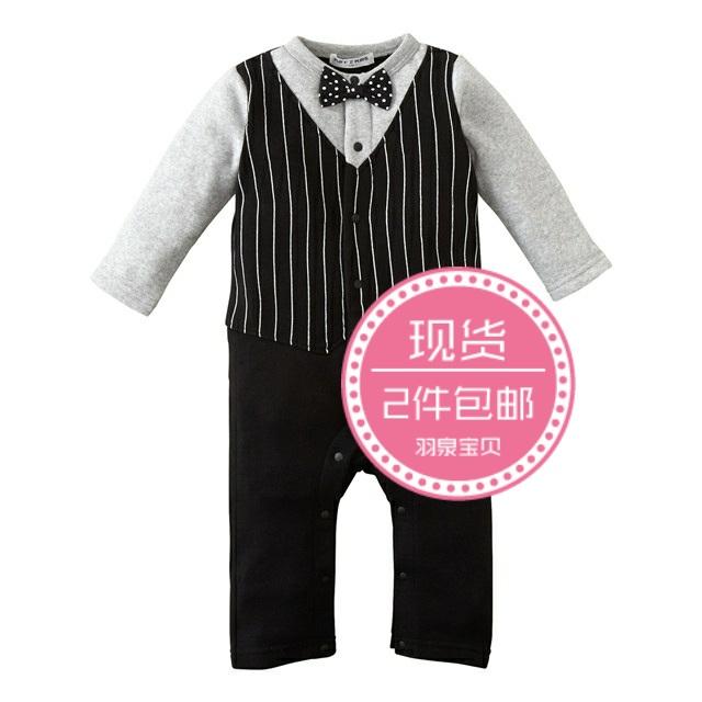【现货】日本童装Nissen秋冬男宝宝假两件里绒西服式连体衣礼服