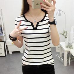 2018夏季新款韩版女装条纹显瘦半袖上衣修身百搭短袖T恤打底衫