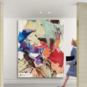 抽象画现代艺术大幅餐厅挂画大尺寸巨幅无框画客厅办公室装饰画