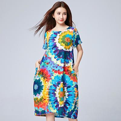 2016夏季新款民族风女装大码中长款短袖印花长裙子气质棉麻连衣裙