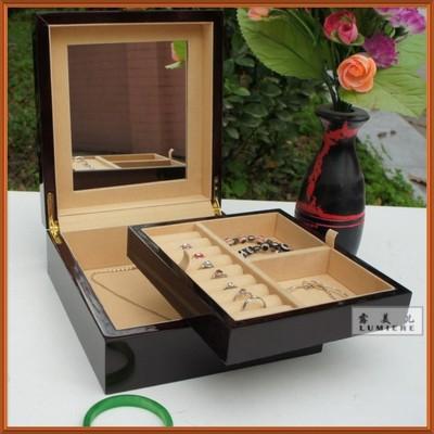 木制高檔鋼琴漆首飾盒 木質帶鏡化妝盒 兩層大容量珠寶盒特價包郵旗艦店