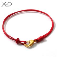 手工编织黑红绳手链手绳穿3D硬金转运珠串珠绳子男女款蜡皮绳手环