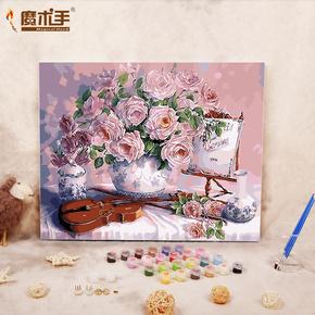 数字油画diy 客厅欧式风景静物手绘装饰画油彩画玫瑰花下小提琴
