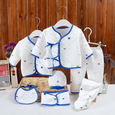 新生婴儿礼盒7件套装0-3个月刚出生满月服男女宝宝睡衣2长袖春秋1