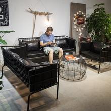 北欧工业风简约现代客厅人单双人沙发咖啡厅酒吧蜡皮个性桌椅组合