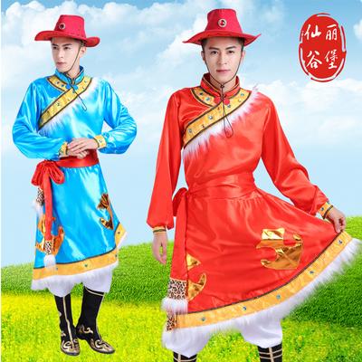 新款成人男款蒙古族舞蹈演出服男少数民族蒙古长袍藏族服装表演服