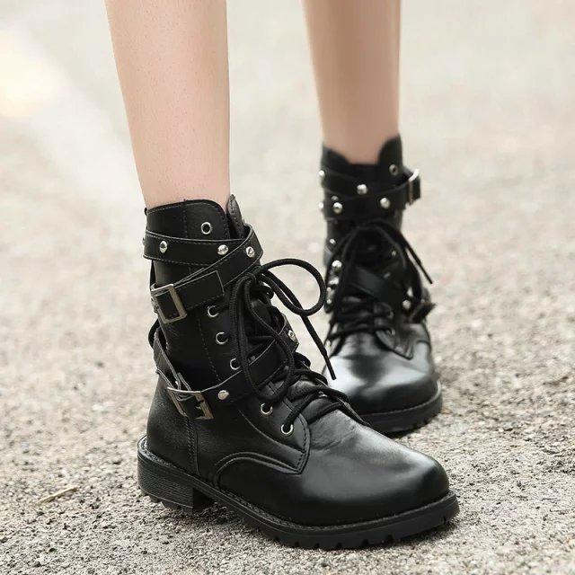 铆钉马丁靴机车靴