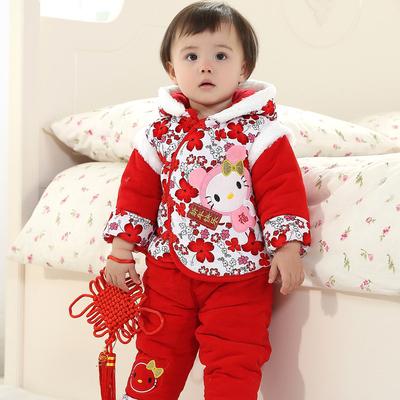 新年婴儿童装唐装宝宝棉衣外套装女童加厚冬装0-1-2岁宝宝棉服装