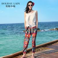 度假波西米亚沙滩阔腿裤夏装女泰国裤子灯笼裤海边民族风海滩长裤