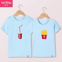 执与 2017新款韩版小清新情侣装夏装薯条简约卡通印花短袖T恤衫