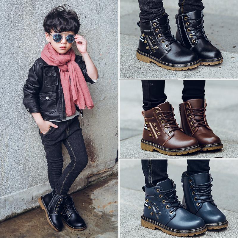 童鞋2017冬季新款男童马丁靴儿童雪地短靴中大童靴男孩加绒棉靴子3元优惠券