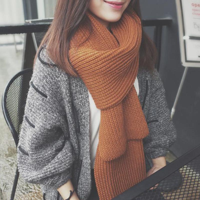 韩版粗毛线围巾
