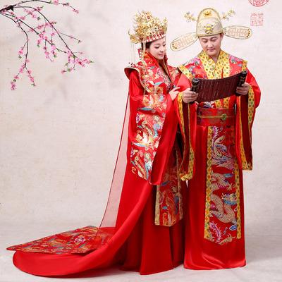 汉服中国风婚礼凤冠霞帔古代新娘嫁衣红色结婚古装服装女贵妃皇后