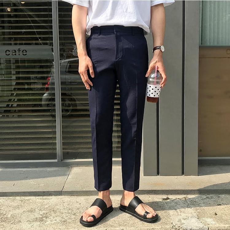 东大门韩国男装代购精致韩版纯色气质微锥九分小直筒休闲裤西裤18