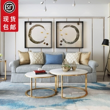 北欧大理石茶几简易客厅圆形高低组合不锈钢金属简约现代小户型风