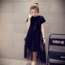 加肥加大码女装200斤胖mm中长款修身显瘦纯色网纱裙连衣裙T恤裙