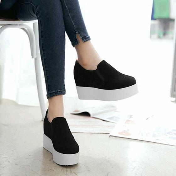 韩版内增高女鞋坡跟休闲鞋乐福鞋一脚蹬懒人学生厚底松糕深口单鞋5元优惠券