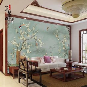 新中式3D高清手绘工笔花鸟图壁纸 客厅沙发 电视背景墙纸定制壁画