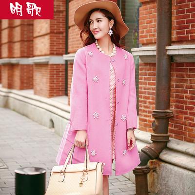 明歌2016秋新款韩版中长款羊毛大衣女装毛呢外套双面羊毛大衣女