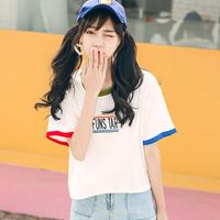 夏季女装短袖上衣女夏2017新款韩版百搭短款宽松拼色刺绣学生T恤