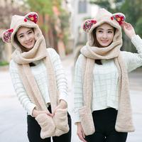 毛线帽子围巾手套一体三件套 韩版可爱毛绒加厚保暖秋冬天女士潮