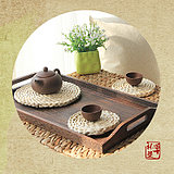 Natural straw cup cushion insulation mat table mat water cup tableware dishes Kung Fu tea set anti-hot slip round mat