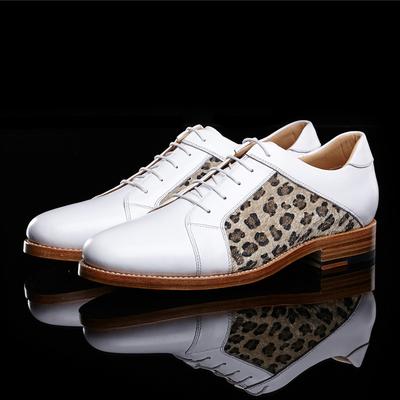 TRUE-N/真恩新款白色拼接男鞋潮男豹纹撞色商务休闲皮鞋DZX154-31