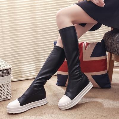 2018秋冬新款平底长筒靴百搭厚底弹力靴显瘦高筒女士皮靴松糕长靴