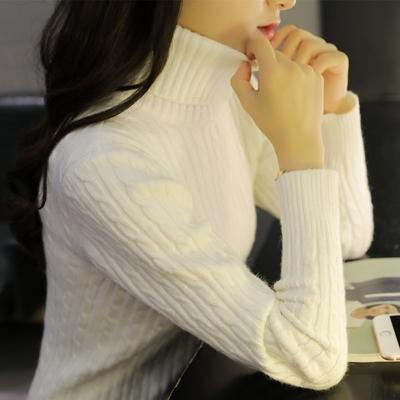 秋冬新款韩版百搭加厚高领毛衣女套头修身长袖麻花打底衫针织衫