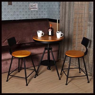 实木铁艺小圆桌