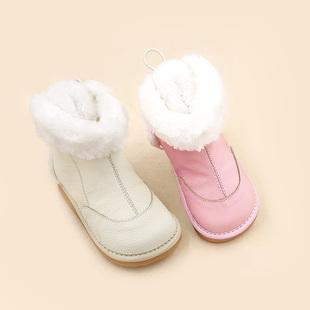 东大门17新品冬季棉靴/毛靴儿童中筒靴翻边平跟保暖套脚女靴子